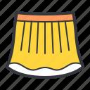 clothes, fashion, skirt, woman, yellow icon