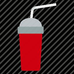 design, disposable, drink, flat, flex, soda, stick icon