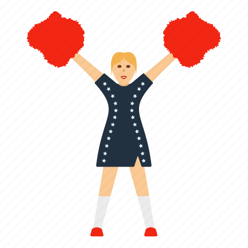 american, cheerleader, design, flat, football, girl, sport icon