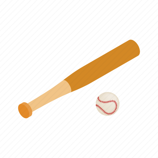 ball, baseball, bat, equipment, isometric, sport, wood icon