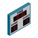 isometric, team, scoreboard, game, score, board, time
