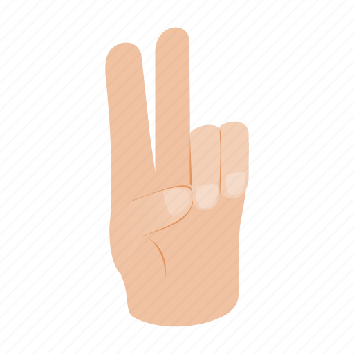 Isometric, people, number, hand, finger, gesturing, two icon
