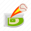 isometric, field, game, baseball, stadium, strike, sport