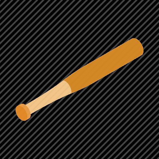 ball, baseball, bat, equipment, isometric, sport, wood icon