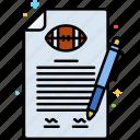 paper, american football, pen, draft icon