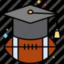 american football, ball, football, scholarship icon