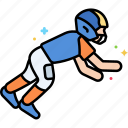 american football, jump, player, tackle icon