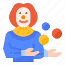 amusement, avatar, clown, man, park