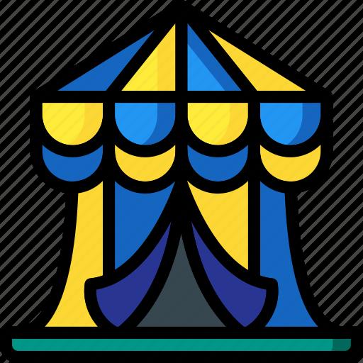 amusements, circus, fair, fun, show, tent icon