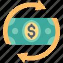 arrows, circulation, currency, dollar, finance, flow, money icon