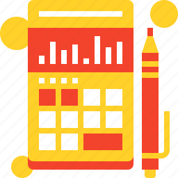 accounting, budget, calculator, chart, finance, graph, taxes icon