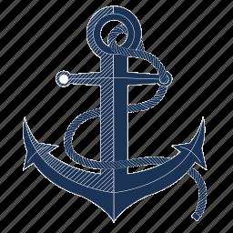 anchor, boat, sailing, sea, ship, travel icon