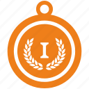 first, golden, laurel, medal, place icon