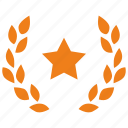 branch, golden, laurel, star, win, winner icon