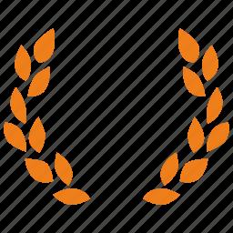 branch, gold, laurels, win icon