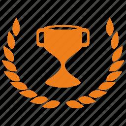 cup, laurels, win, winner icon