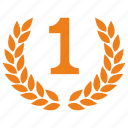 first, laurel, place, winner icon
