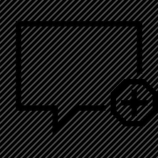 add, bubble, chat, conversation, message, plus, talk icon