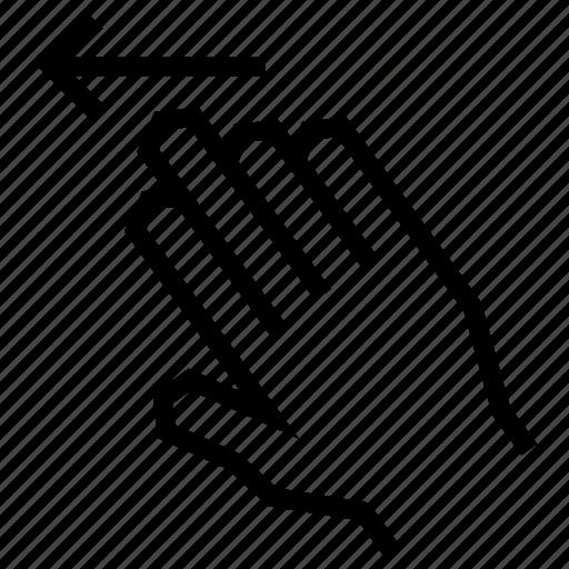 arrow, finger, gesture, hand, left, swipe, touch icon