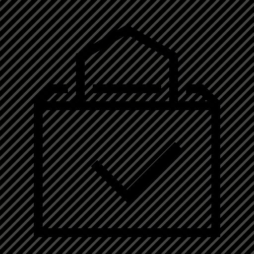 bag, buy, check, checkmark, done, shop, shopping icon