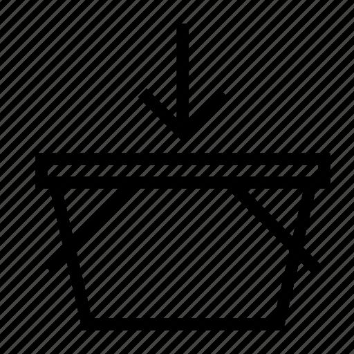 add, arrow, basket, down, shopping icon