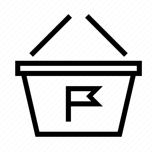 basket, flag, mark, notification, shopping icon