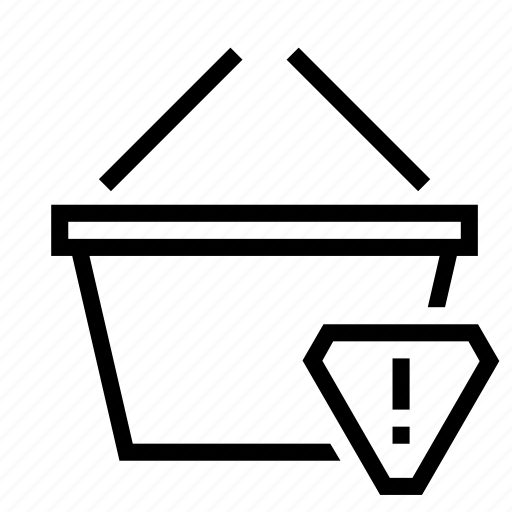alert, basket, caution, shopping, warning icon