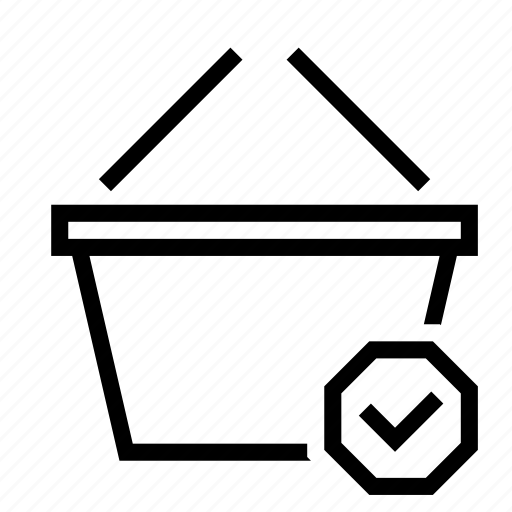 basket, check, checkmark, done, shopping icon