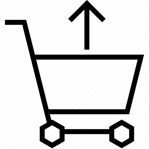 arrow, cart, remove, shopping, strolley, up, upload icon