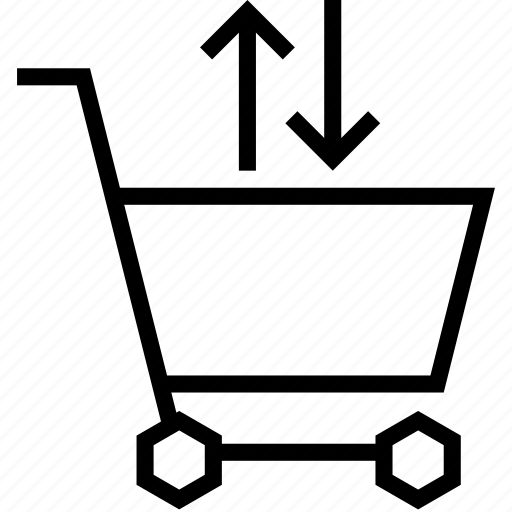 arrow, cart, shopping, strolley, sync, transfer icon