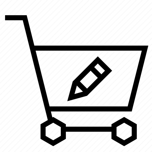 cart, edit, pen, pencil, shopping, strolley, write icon