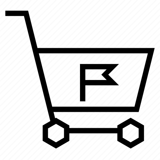 bookmark, cart, flag, mark, notification, shopping, strolley icon