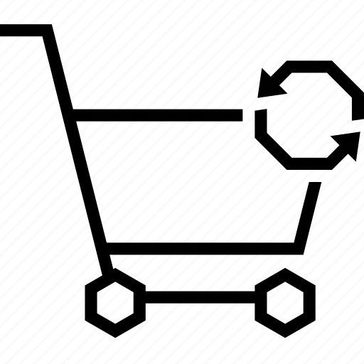 arrow, cart, shopping, strolley, sycn icon
