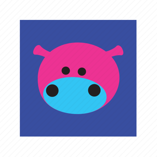 animal, cute, funny, hippopotamus icon