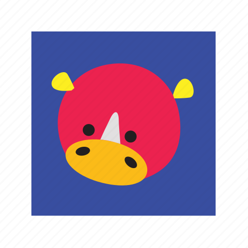 animal, cute, funny, rhinoceros icon