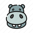 animal, big, hippo, hippopotamus, mammals, water icon