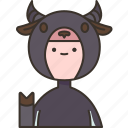buffalo, horn, cattle, costume, onesie