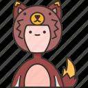 fox, jumpsuit, tail, character, fandom