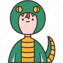 snake, reptile, costume, scary, character