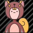 squirrel, costume, children, performance, stage