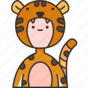 tiger, furry, tail, animal, party
