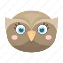animal, bird, cute, muzzle, owl, toy icon