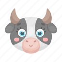 animal, cow, cute, muzzle, pet, toy icon