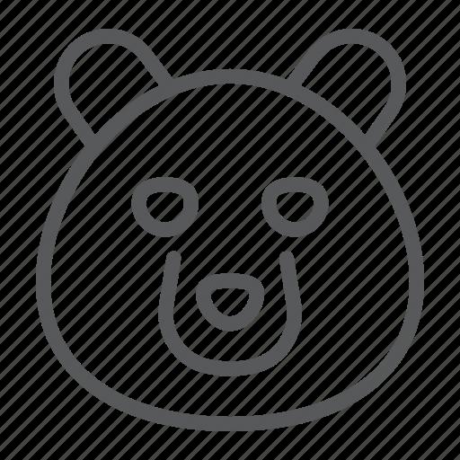 animal, bear, grizzly, head, logo, wild, zoo icon