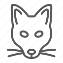 animal, fox, head, logo, mascot, wild, zoo icon