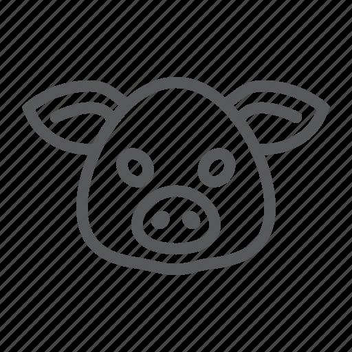 animal, head, logo, pig, pork, wild, zoo icon