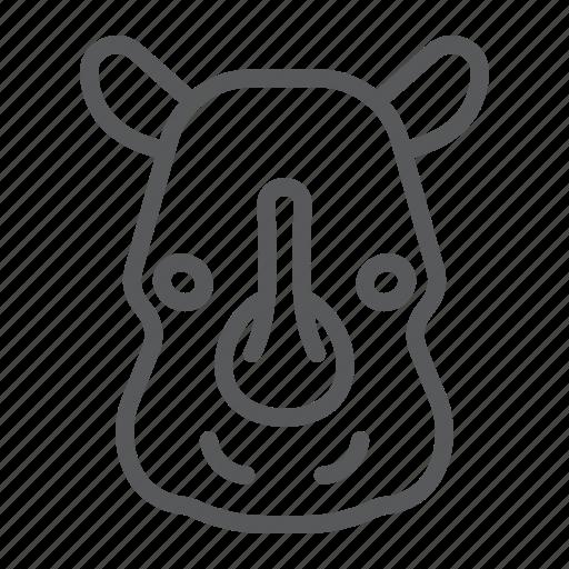animal, head, logo, mammal, rhinoceros, wild, zoo icon