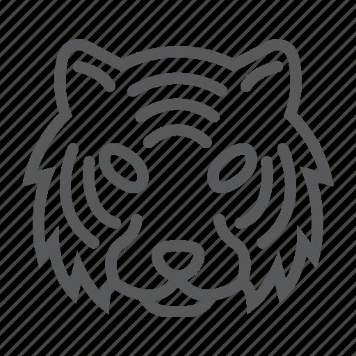 animal, danger, head, logo, tiger, wild, zoo icon