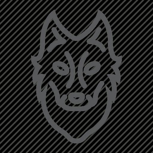 animal, dog, head, logo, wild, wolf, zoo icon