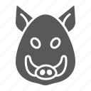 animal, boar, head, logo, pig, wild, zoo icon